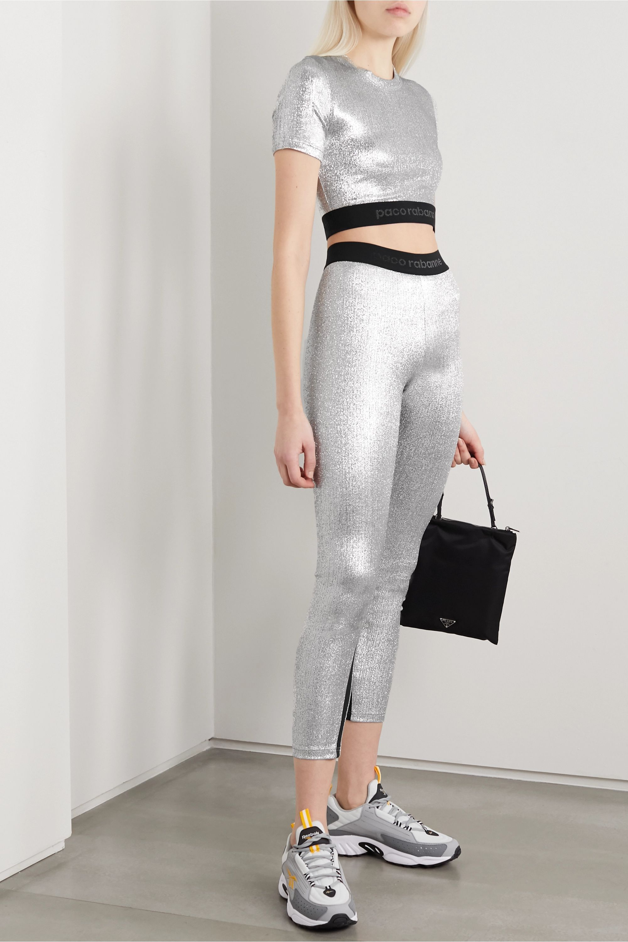 Paco Rabanne Cropped two-tone metallic stretch top