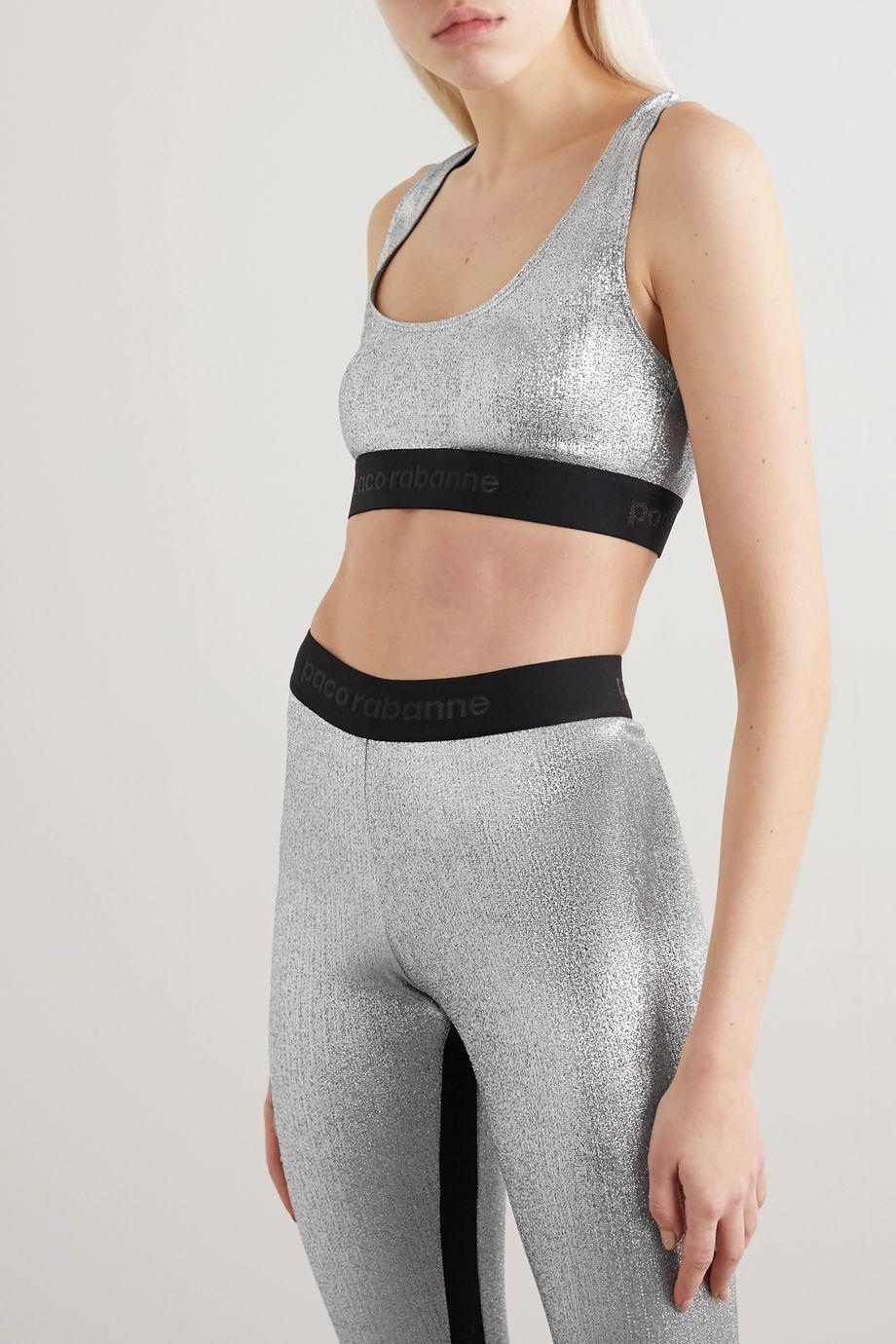 Paco Rabanne Two-tone metallic stretch sports bra