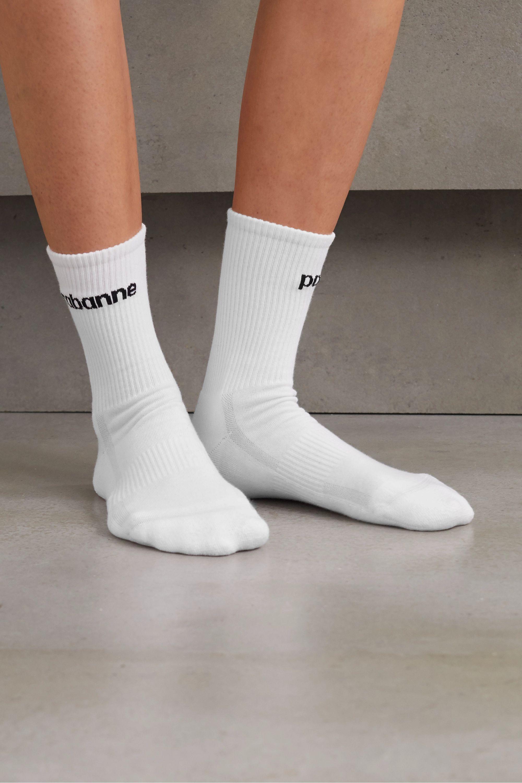 Paco Rabanne Intarsia ribbed stretch cotton-blend socks