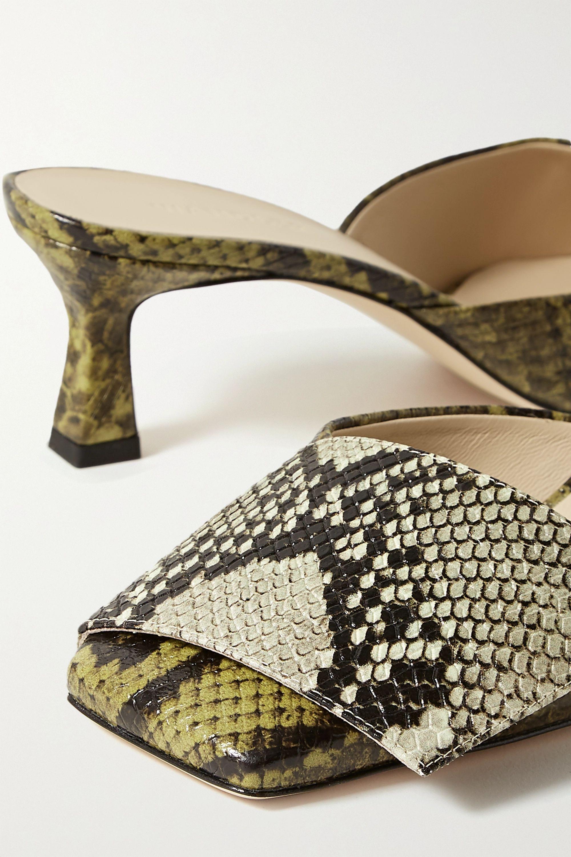 Wandler Isa snake-effect leather mules