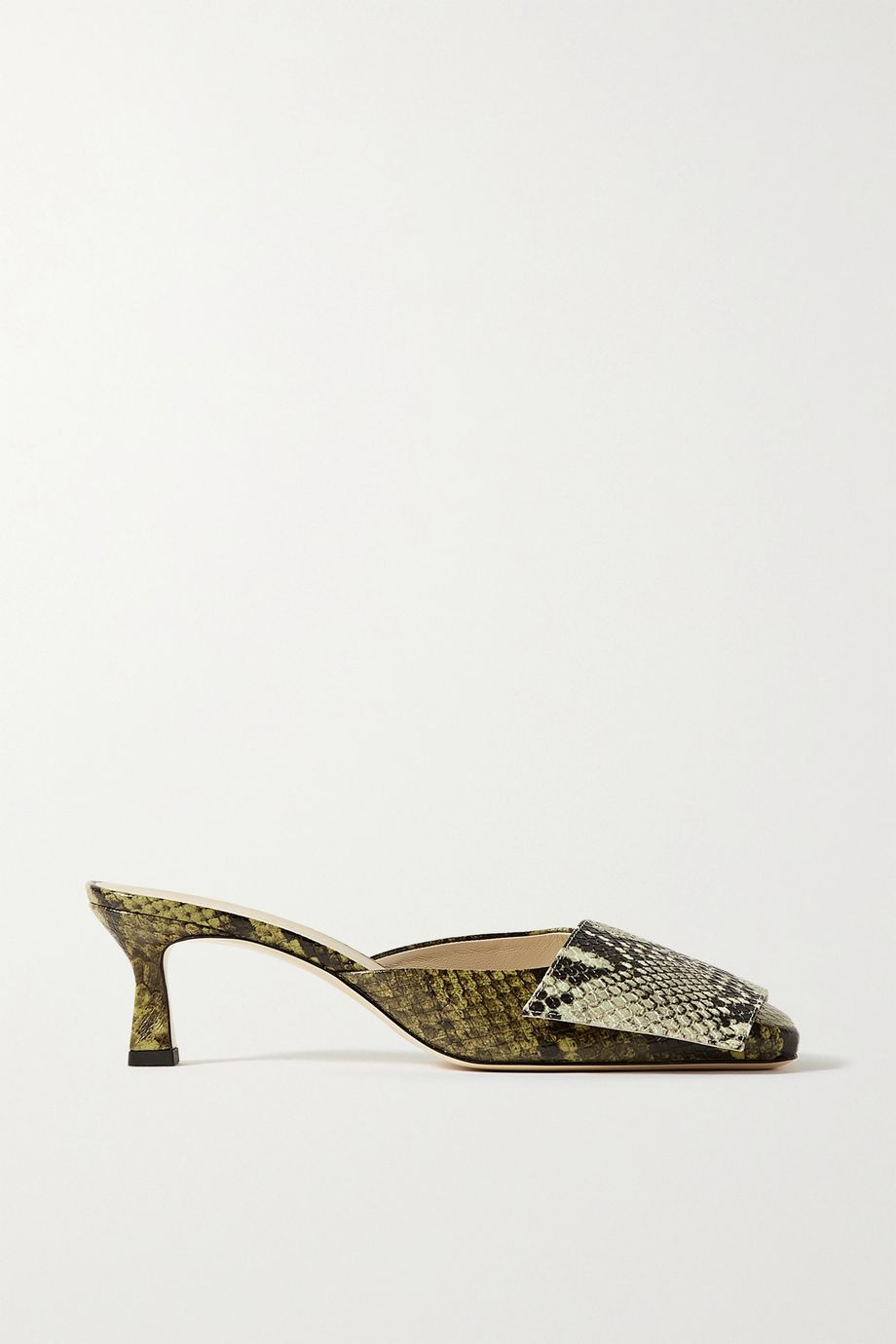 Wandler Isa snake-effect leather mules