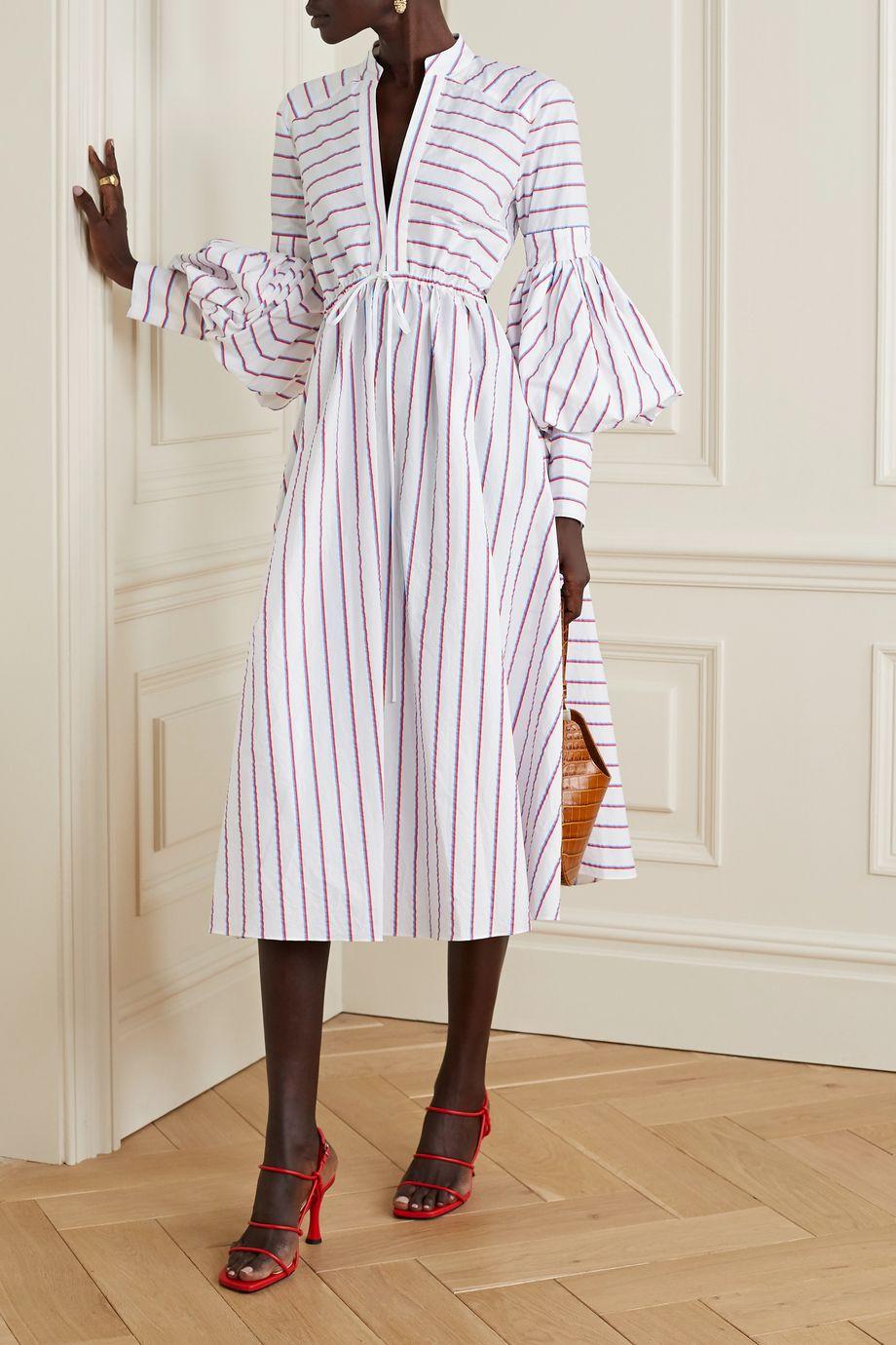 Rosie Assoulin Lantern striped cotton-poplin midi dress