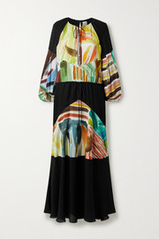 Rosie Assoulin Oversized paneled chiffon and printed silk crepe de chine maxi dress