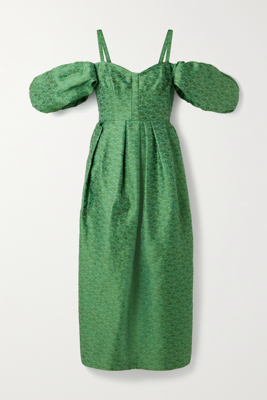 Rosie Assoulin Pleated cold-shoulder brocade midi dress