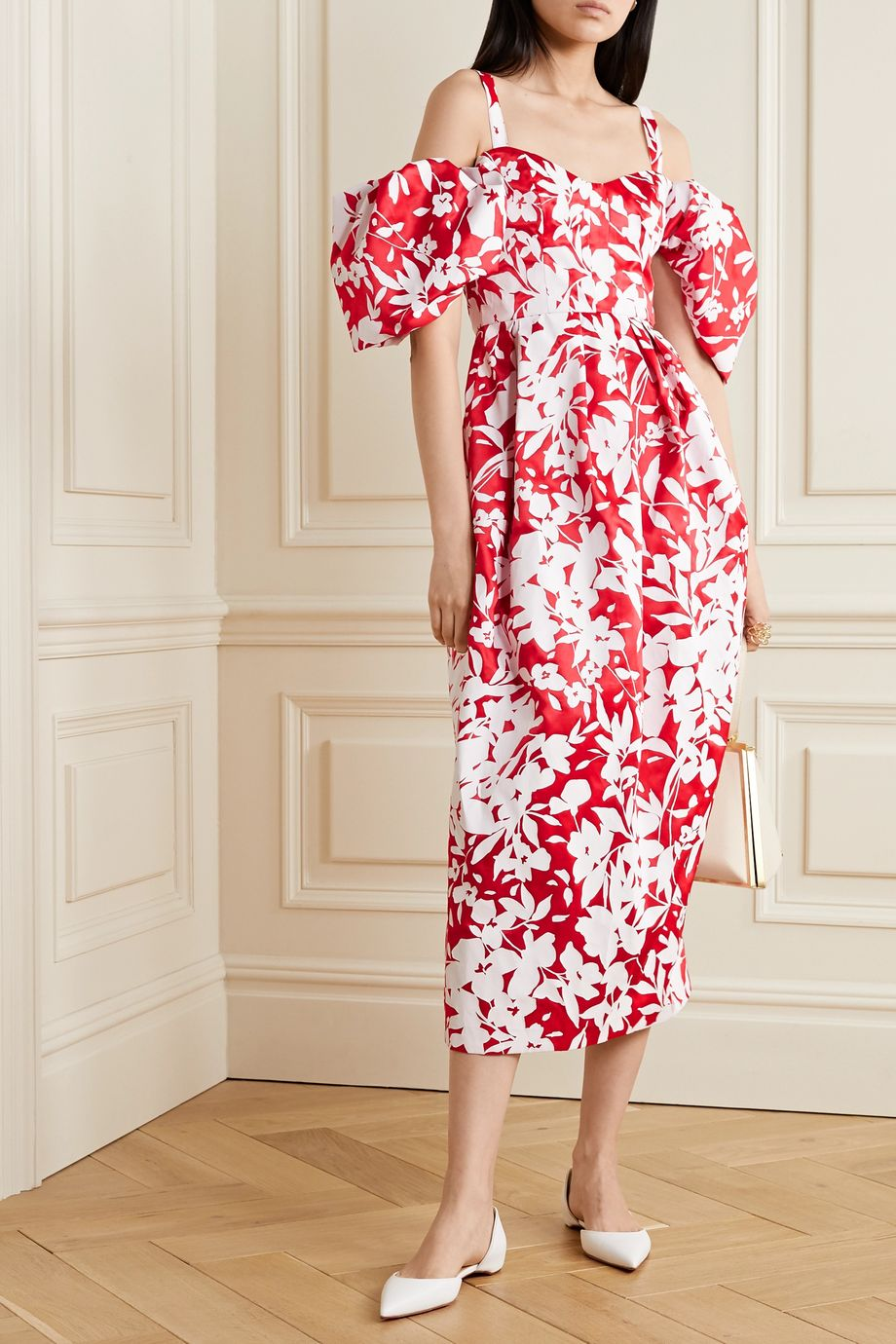 Rosie Assoulin Pleated cold-shoulder floral-print silk-taffeta midi dress