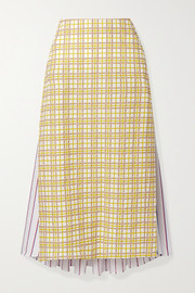 Rosie Assoulin Party In The Back paneled cotton-seersucker midi skirt