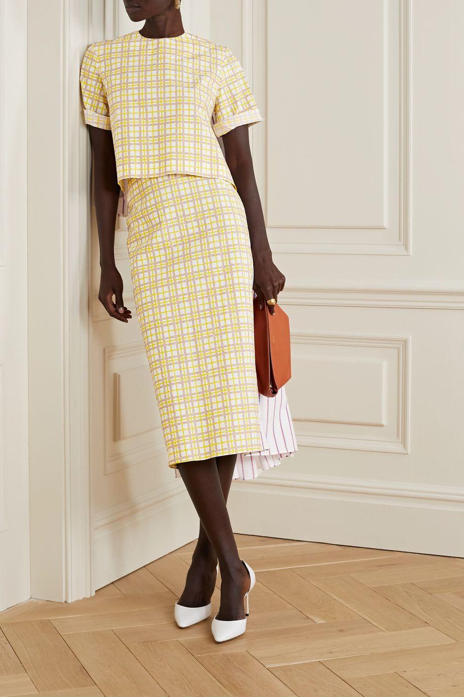 Rosie Assoulin Party In The Back paneled cotton-seersucker midi skirt