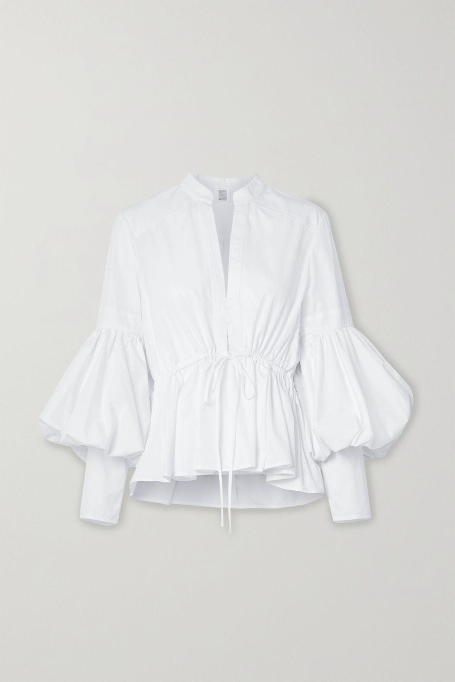 Rosie Assoulin Lantern oversized cotton-blend poplin peplum blouse