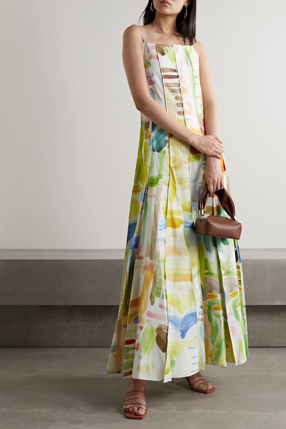 Rosie Assoulin Million Pleats paneled printed cotton-blend faille maxi dress