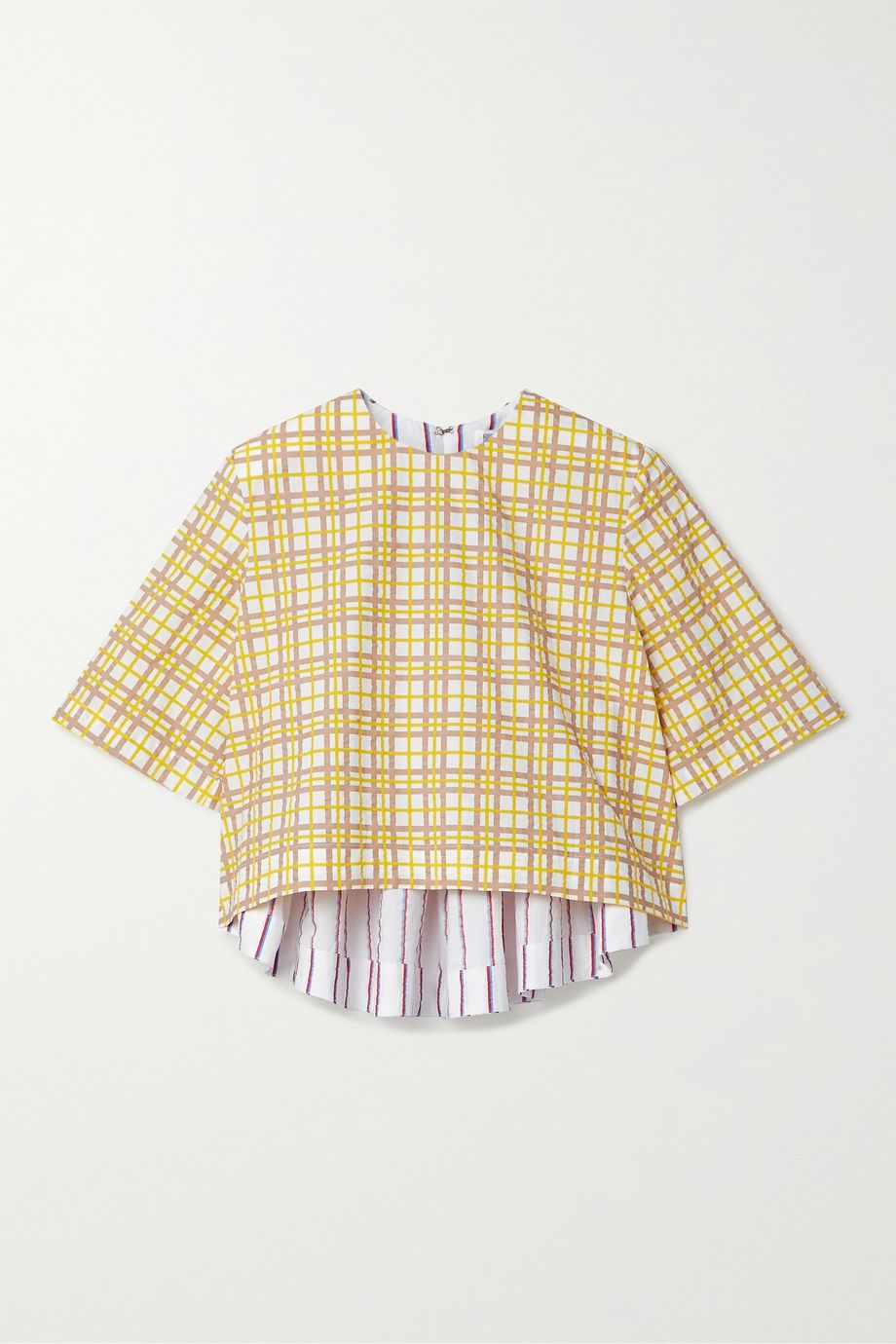 Rosie Assoulin Party In The Back cropped paneled cotton-seersucker top