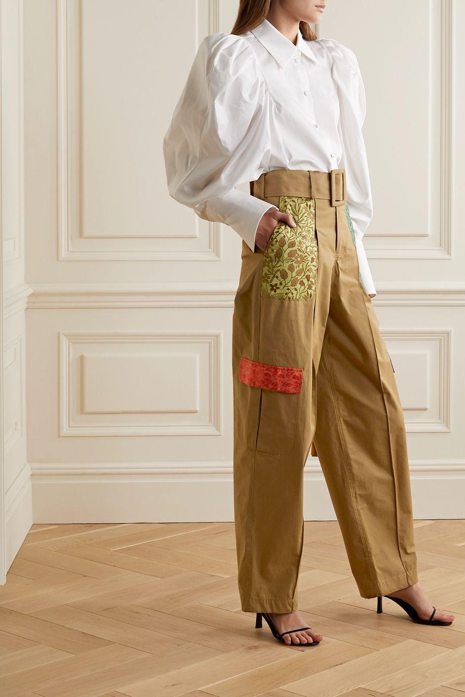 Rosie Assoulin Belted jacquard-trimmed cotton wide-leg pants