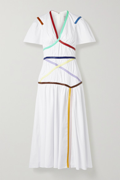 Rosie Assoulin Criss Cross Applesauce Faux Leather Trimmed Cotton Blend Poplin Midi Dress In White Modesens Cool breeze, tight squeeze, now you've got the shivers all over. modesens