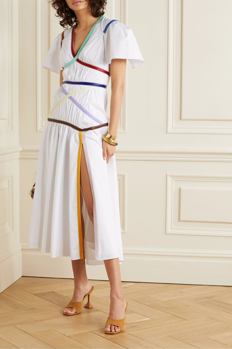 Rosie Assoulin Criss Cross Applesauce faux leather-trimmed cotton-blend poplin midi dress