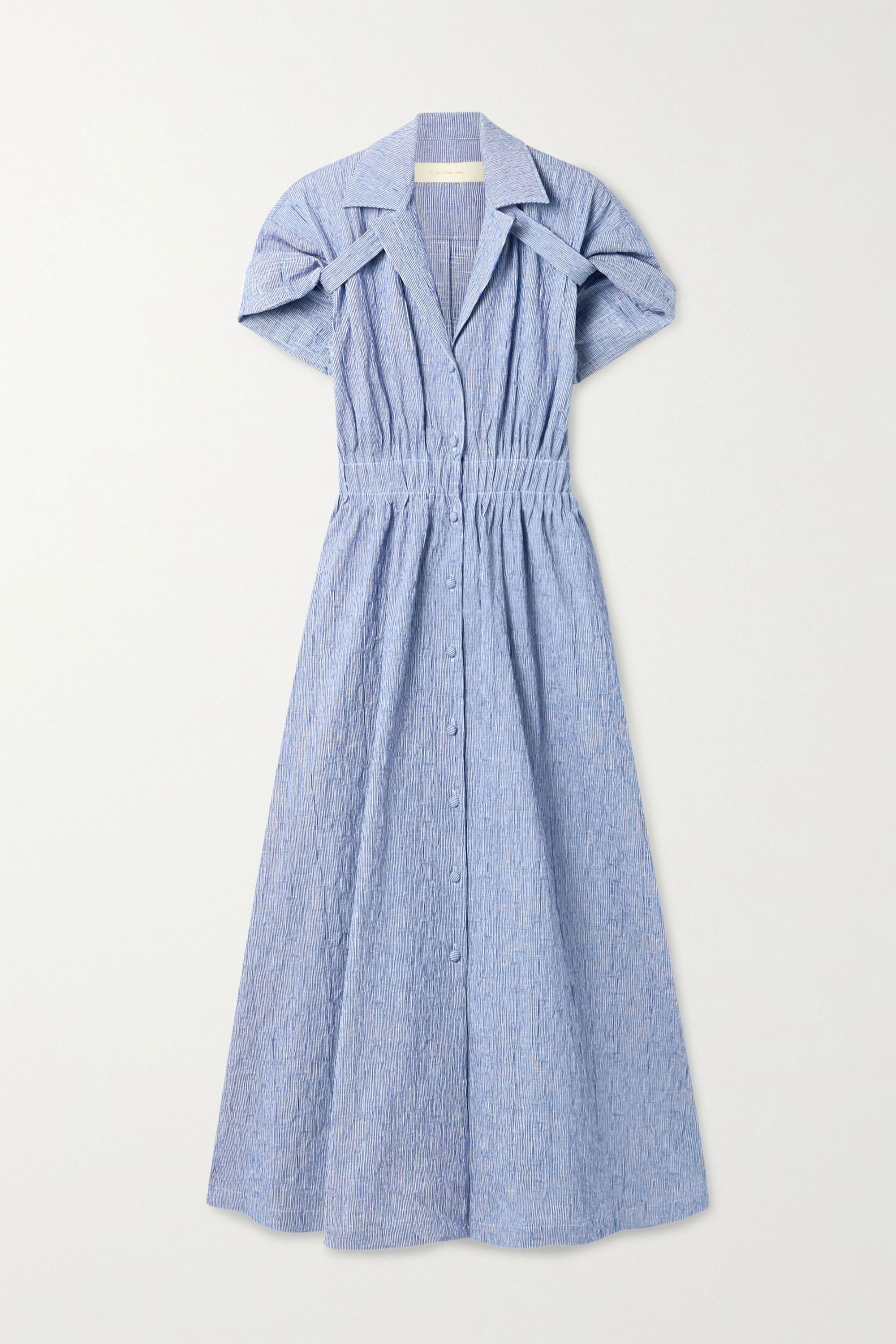 Rosie Assoulin By Any Other Name striped textured stretch-cotton shirt dress