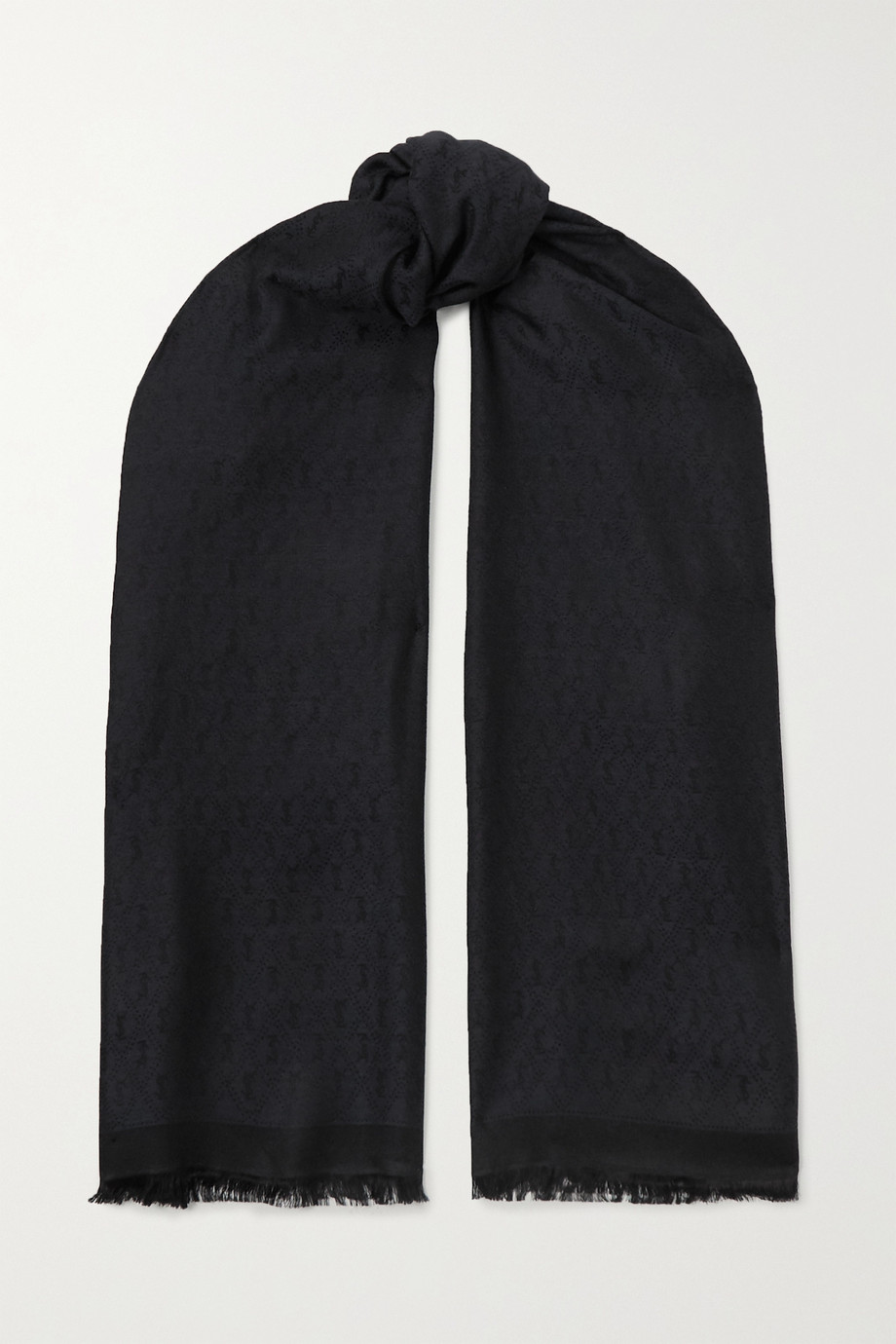 SAINT LAURENT Fringed silk and wool-blend jacquard scarf