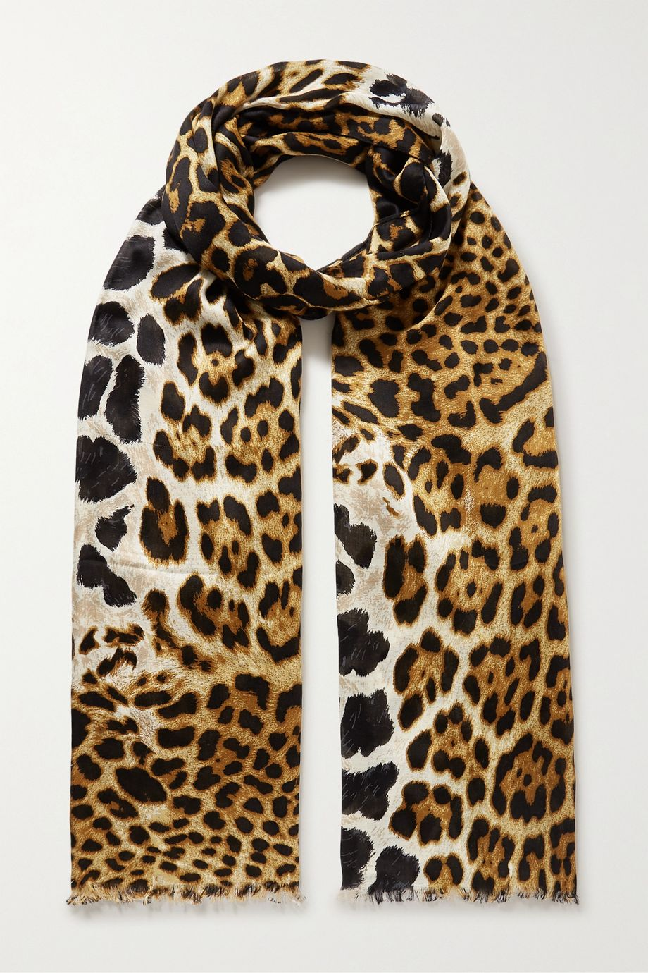 SAINT LAURENT Frayed leopard-print silk scarf