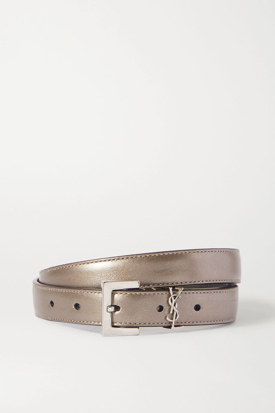 SAINT LAURENT Embellished metallic textured-leather belt