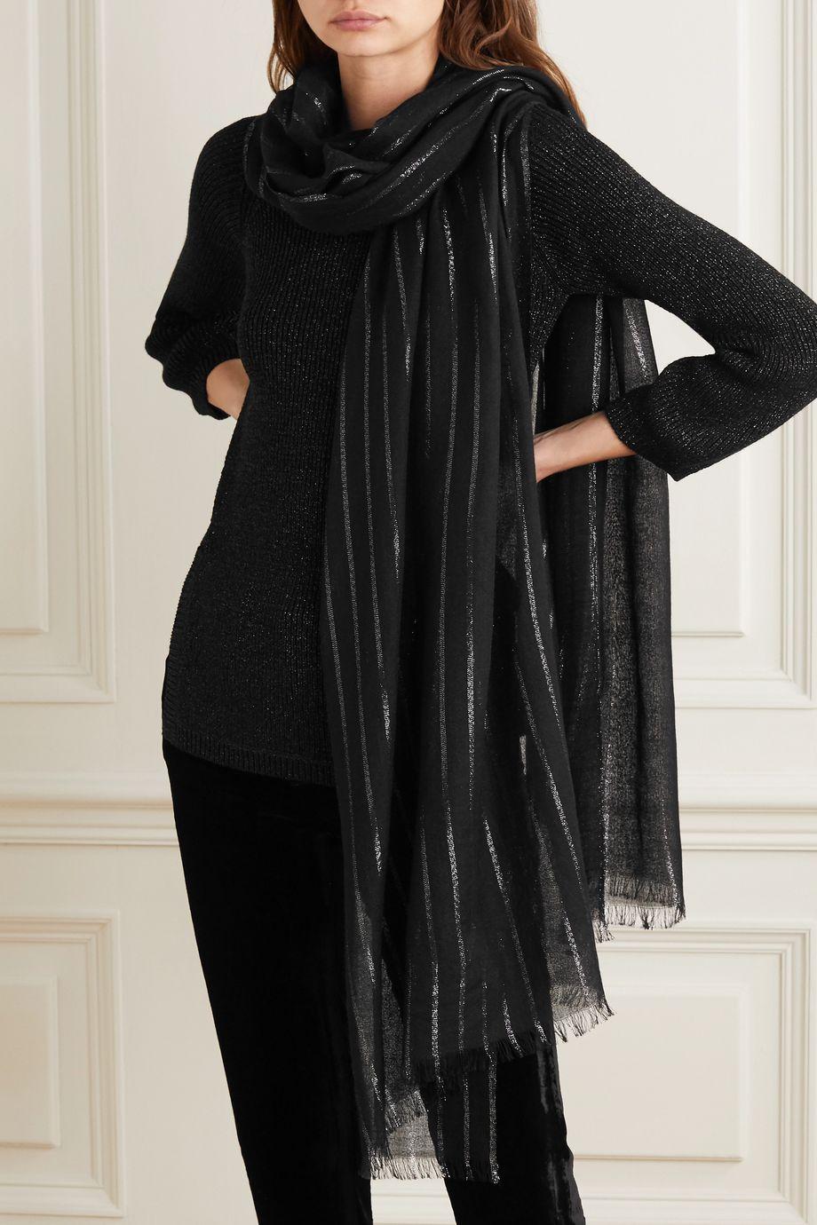SAINT LAURENT Metallic striped cashmere-blend scarf