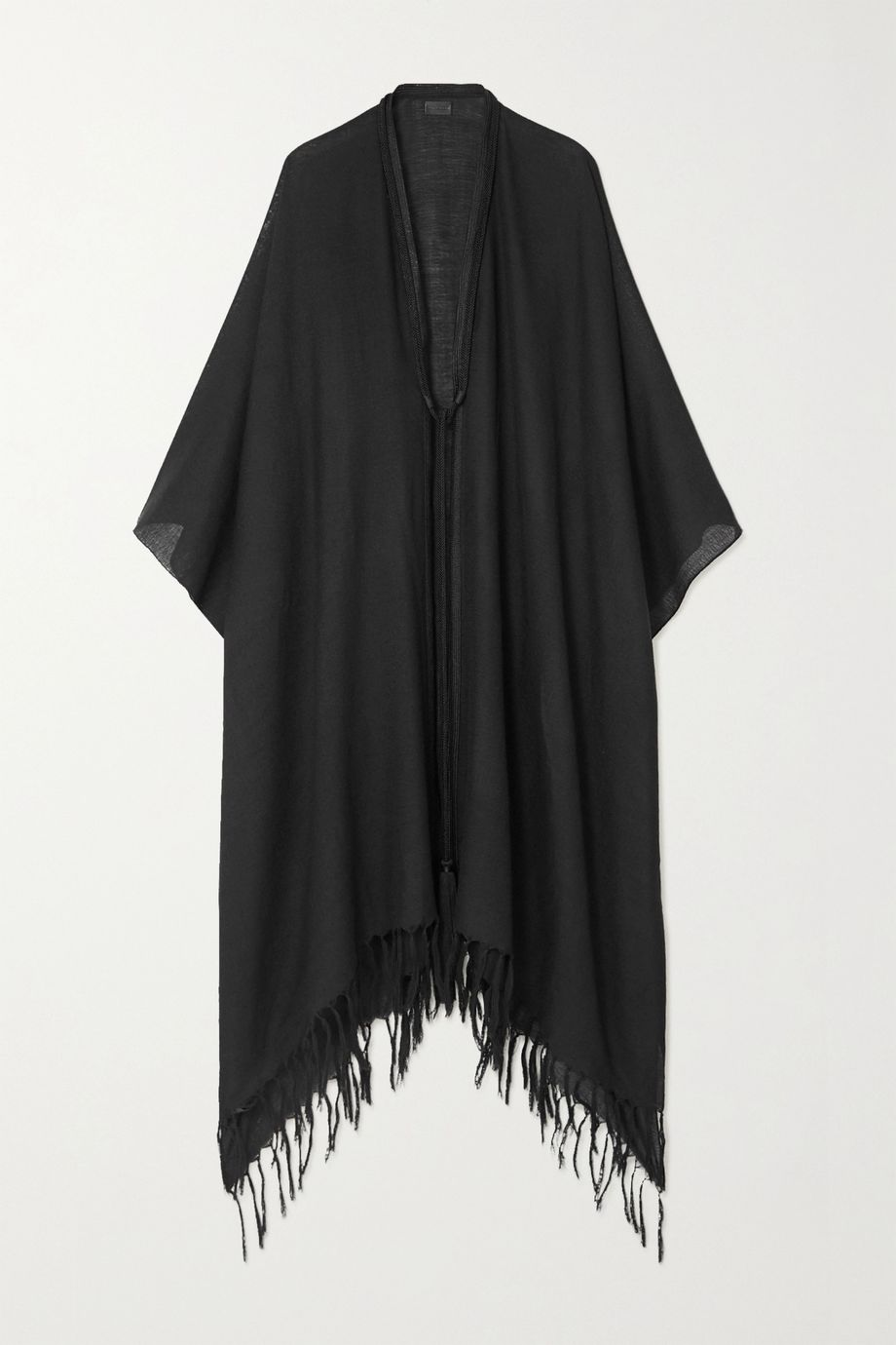 SAINT LAURENT Rope-trimmed fringed wool-gauze cape
