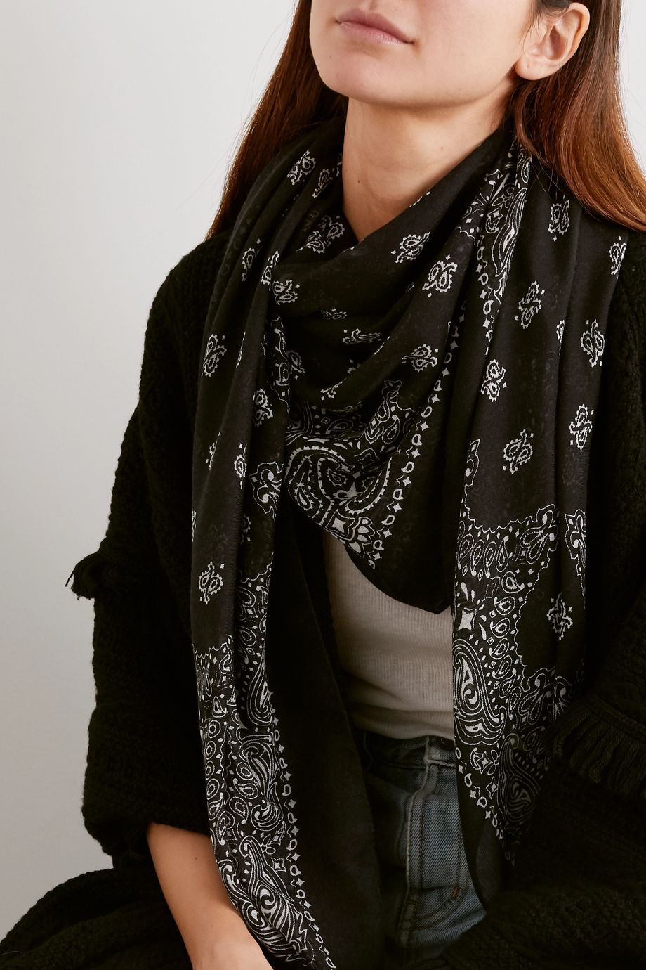 SAINT LAURENT Paisley-print cashmere and silk-blend scarf