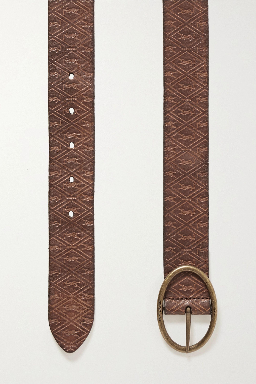 SAINT LAURENT Embossed leather waist belt