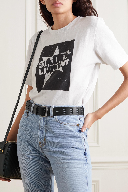 SAINT LAURENT Laser-cut leather belt
