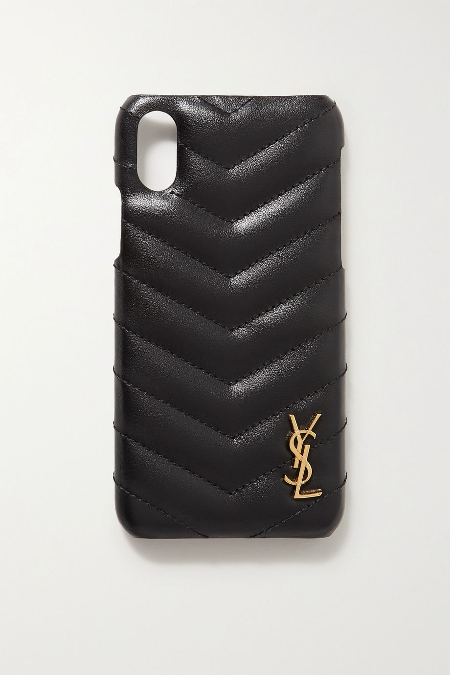 SAINT LAURENT Embellished quilted leather iPhone X and XS case