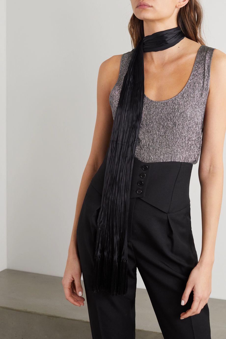 SAINT LAURENT Tasseled plissé-silk scarf