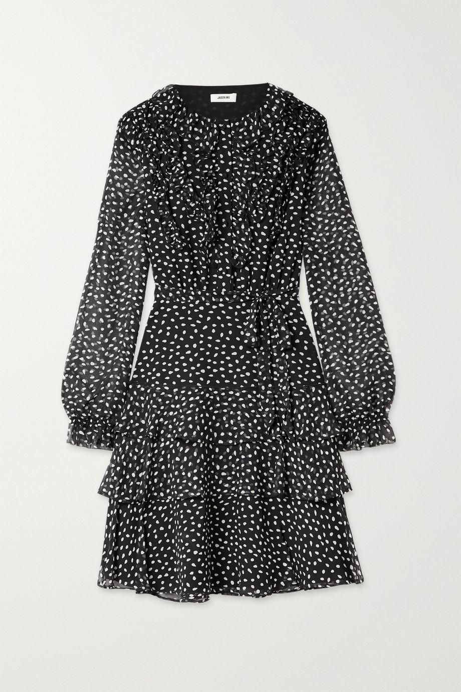Jason Wu Belted ruffled polka-dot silk-crepon dress