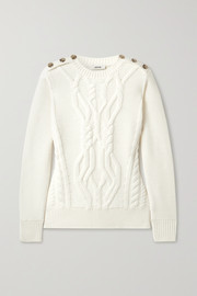 Jason Wu Button-embellished cable-knit merino wool sweater