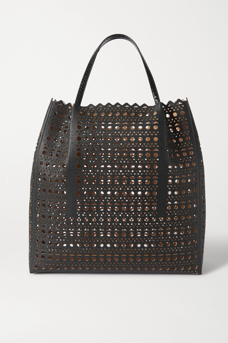 Black Garance large elaphe-trimmed laser-cut faux leather tote | Alaïa KHtU9R