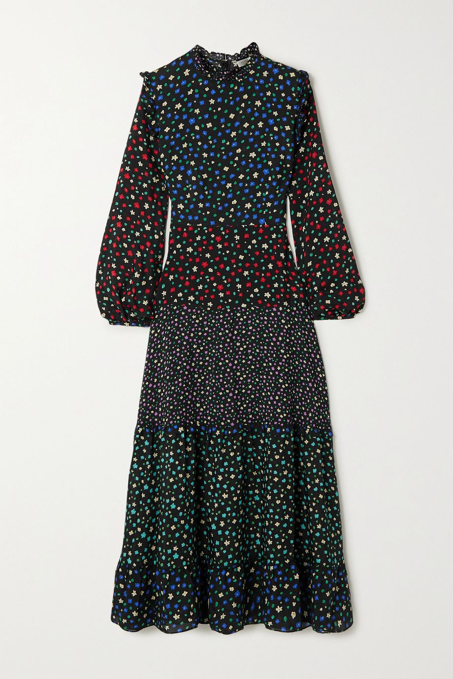 RIXO Billie ruffled tiered floral-print cotton and silk-blend midi dress