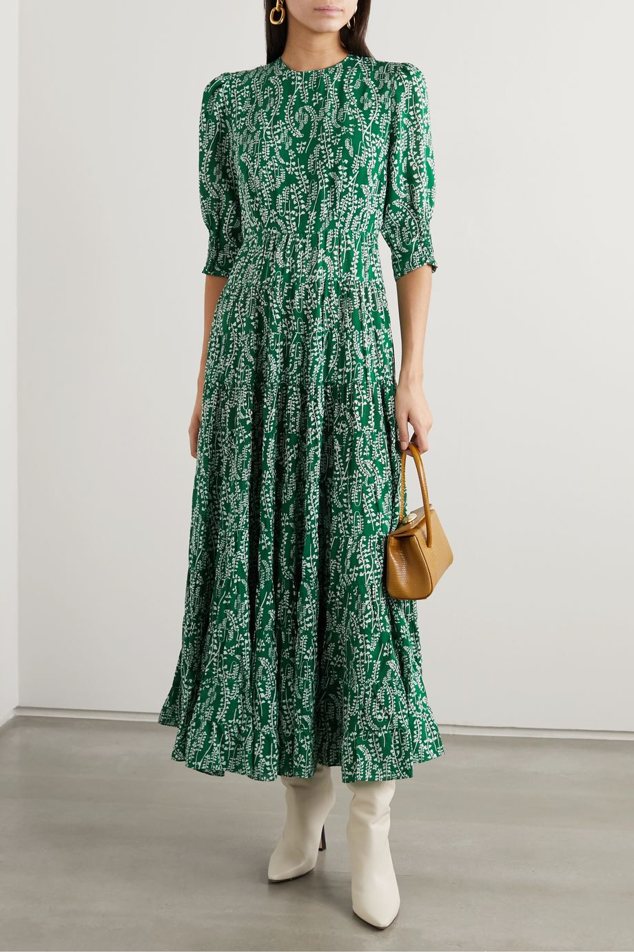 RIXO Kristen tiered floral-print cotton and silk-blend midi dress
