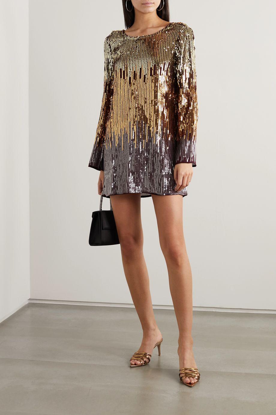 RIXO Aria ombré sequined crepe mini dress