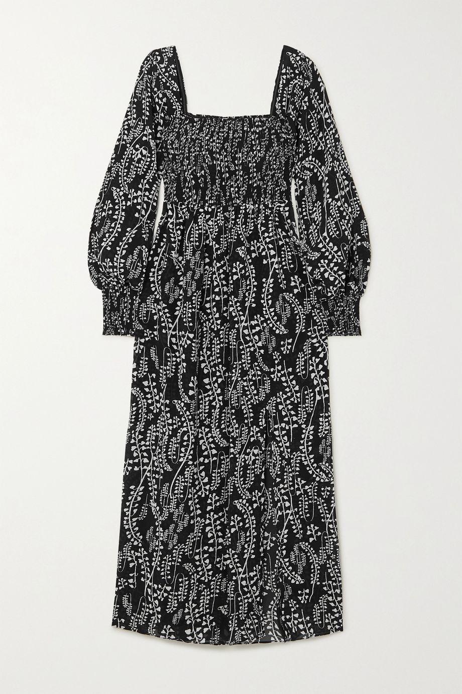 RIXO Marie shirred printed voile midi dress