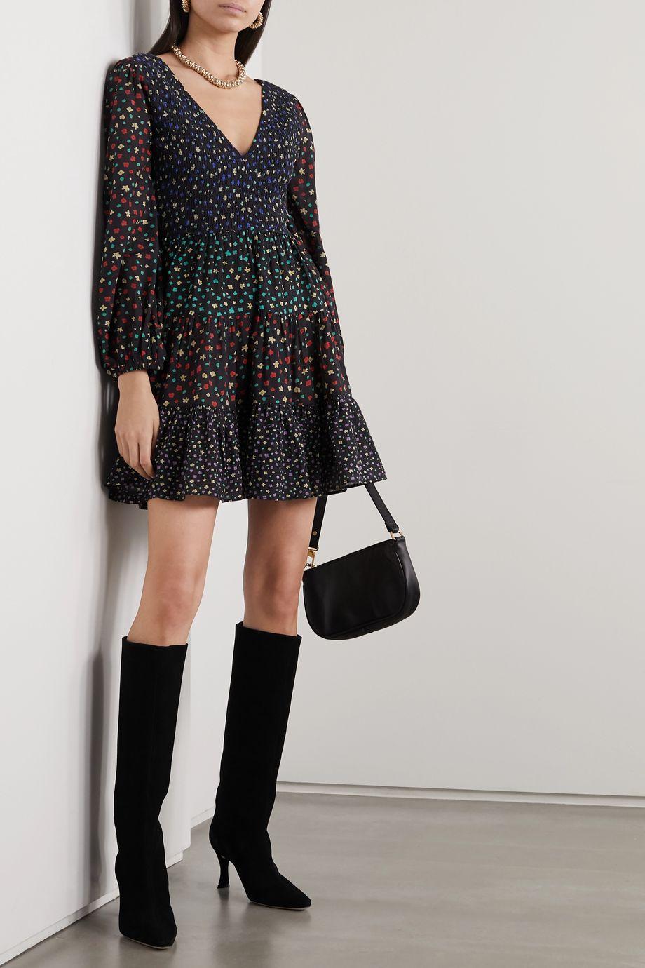 RIXO Sasha shirred tiered floral-print modal mini dress