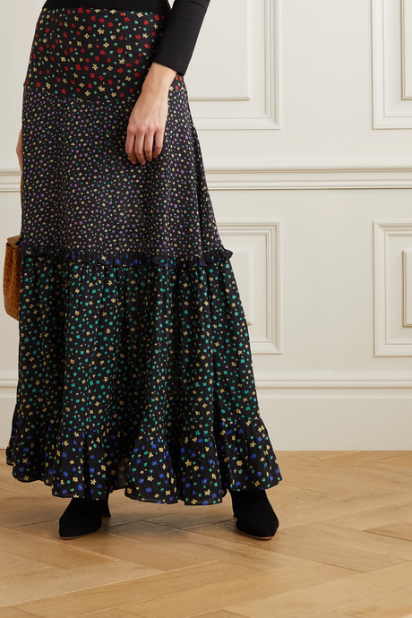 Dakota tiered floral-print modal maxi skirt