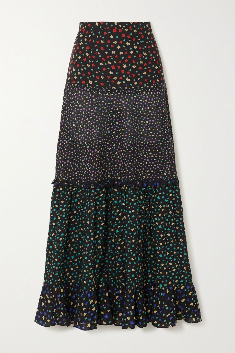 RIXO Dakota tiered floral-print modal maxi skirt