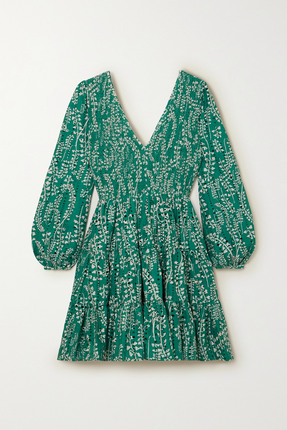 RIXO Sasha shirred floral-print broderie anglaise cotton mini dress