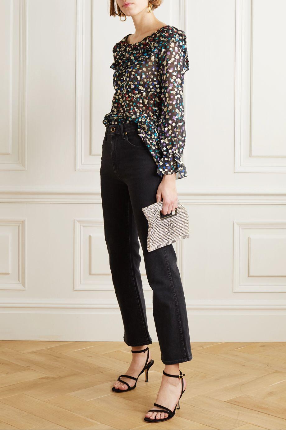 RIXO Chloe tiered floral-print fil coupé silk and Lurex-blend chiffon blouse