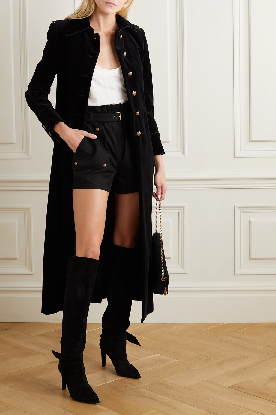 SAINT LAURENT Piped cotton-velvet coat