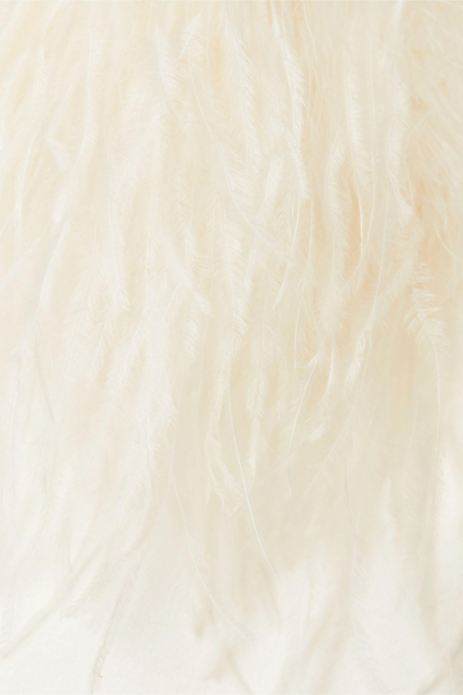 SAINT LAURENT Mini-robe en crêpe satiné à plumes