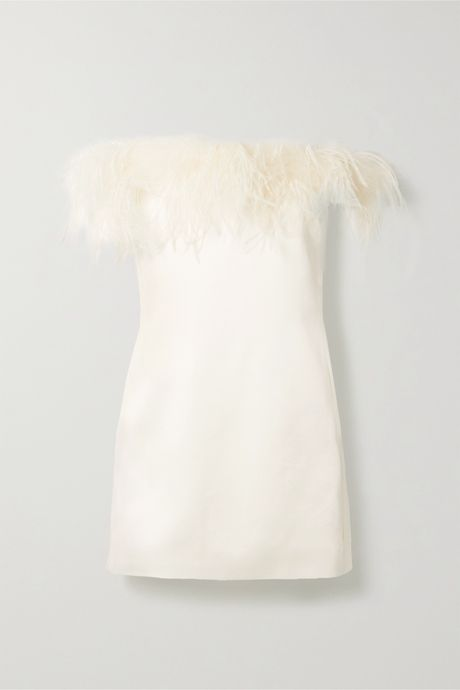 Ivory Feather-trimmed satin-crepe mini dress | SAINT LAURENT MRJNCO