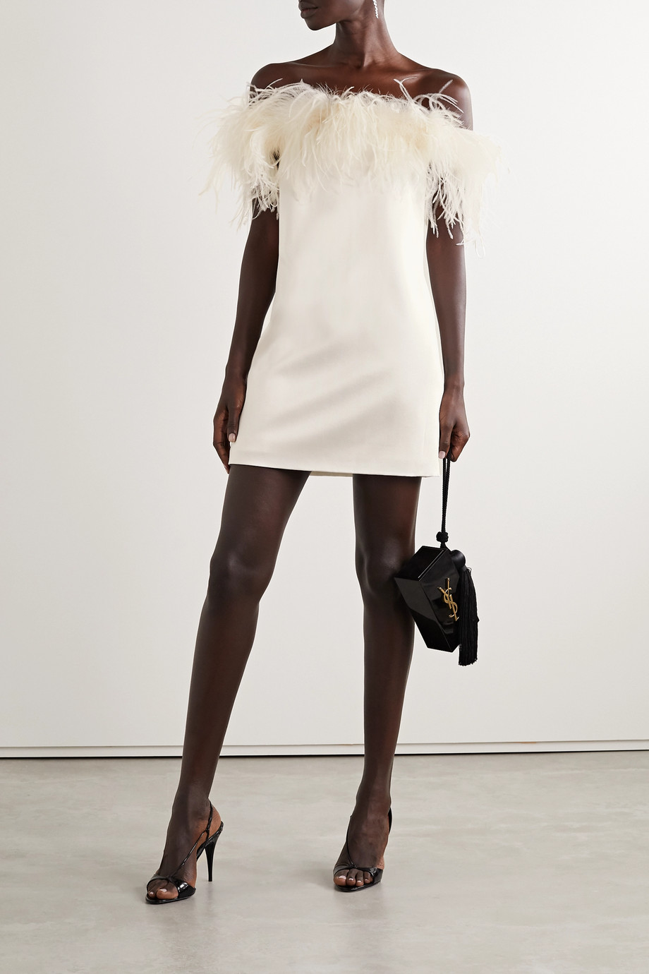SAINT LAURENT Feather-trimmed satin-crepe mini dress
