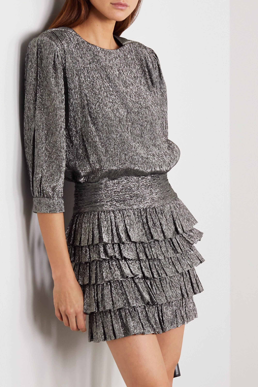 SAINT LAURENT Ruffled tiered metallic silk-blend mini dress