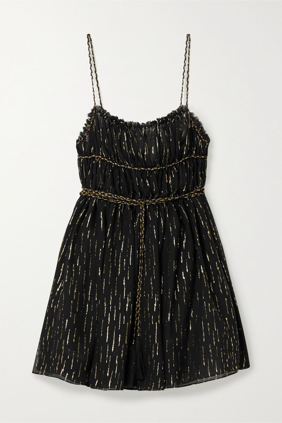 SAINT LAURENT Open-back metallic fil coupé silk-blend chiffon mini dress