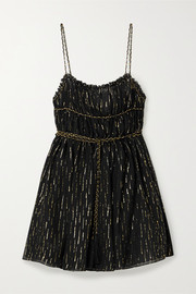 Open-back metallic fil coupé silk-blend chiffon mini dress