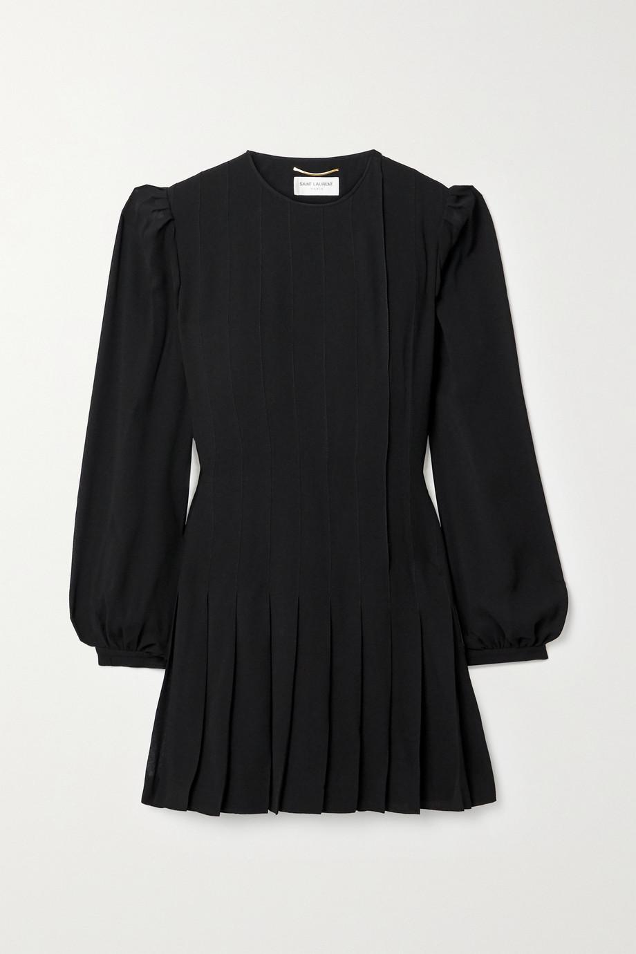 SAINT LAURENT Pleated crepe mini dress