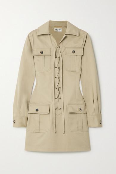 Saint Laurent Long-sleeve Lace-up Four-pocket Mini Cotton Twill Dress In 大地色