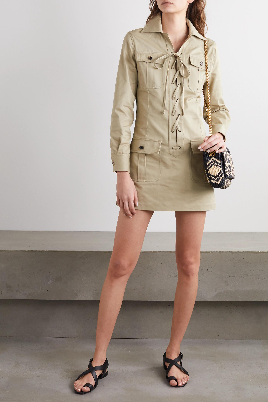 SAINT LAURENT Minikleid aus Baumwoll-Twill mit Schnürung